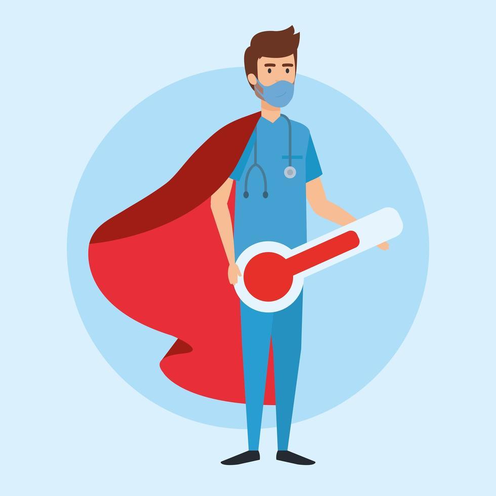 super manlig sjuksköterska med hjältekåpa och termometer vektor