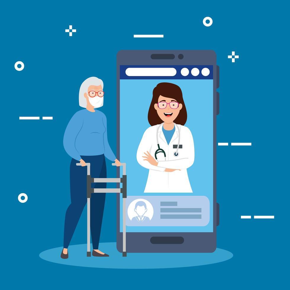 online medicinteknik med smartphone och kvinnor vektor