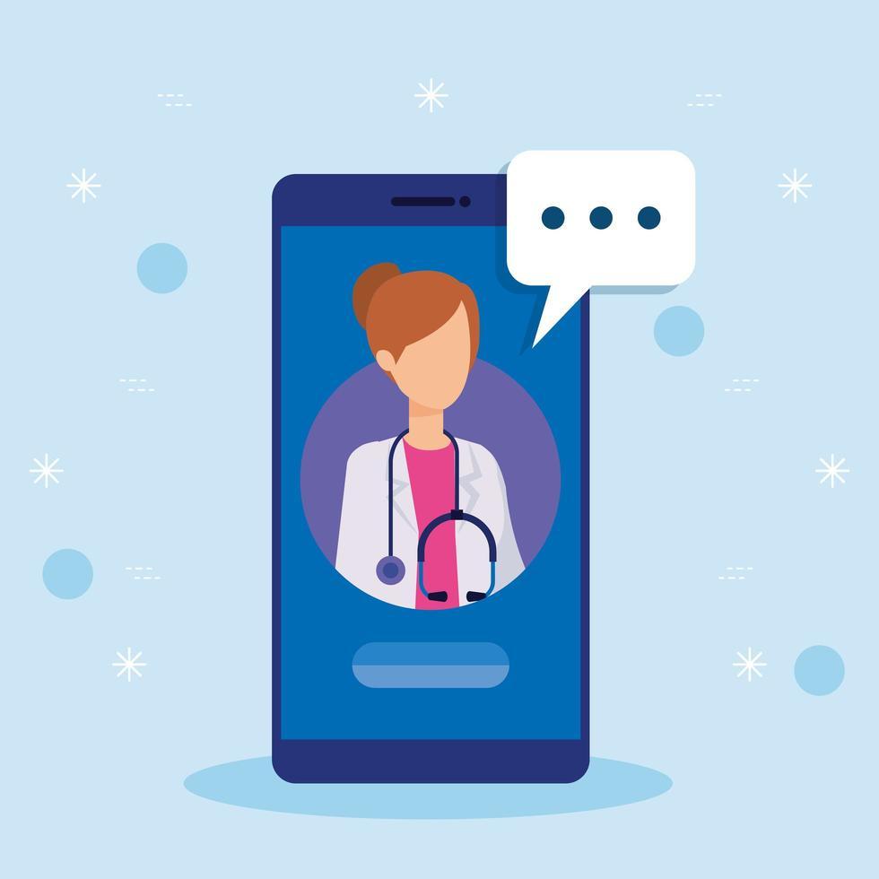 onlinemedicin med kvinnlig läkare och smartphone vektor