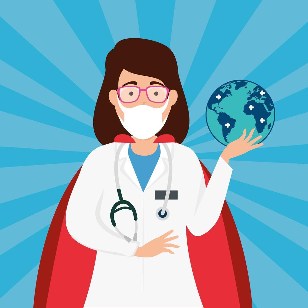 superläkare med hjältinna cape och globe vektor