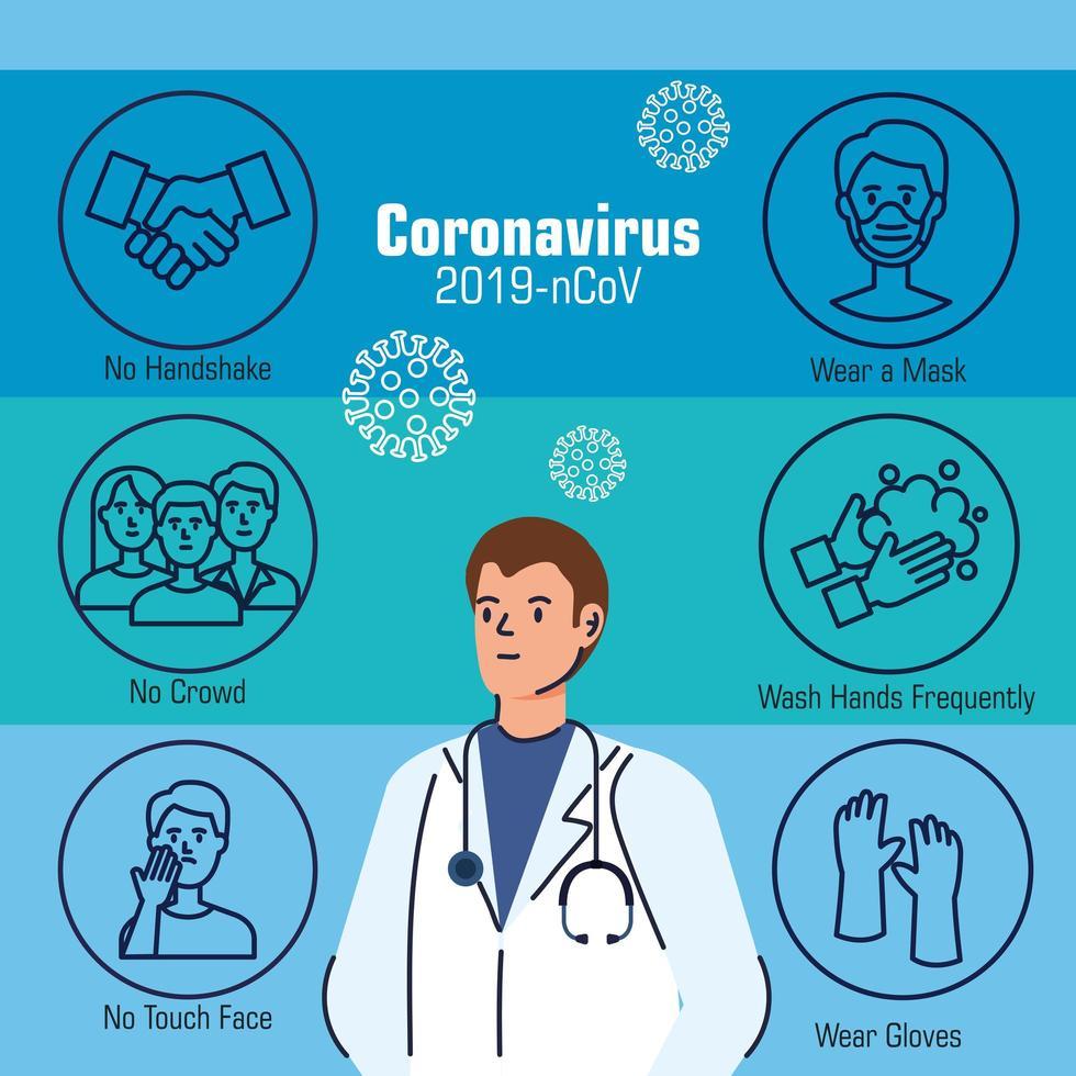 coronavirusförebyggande banner med läkare vektor
