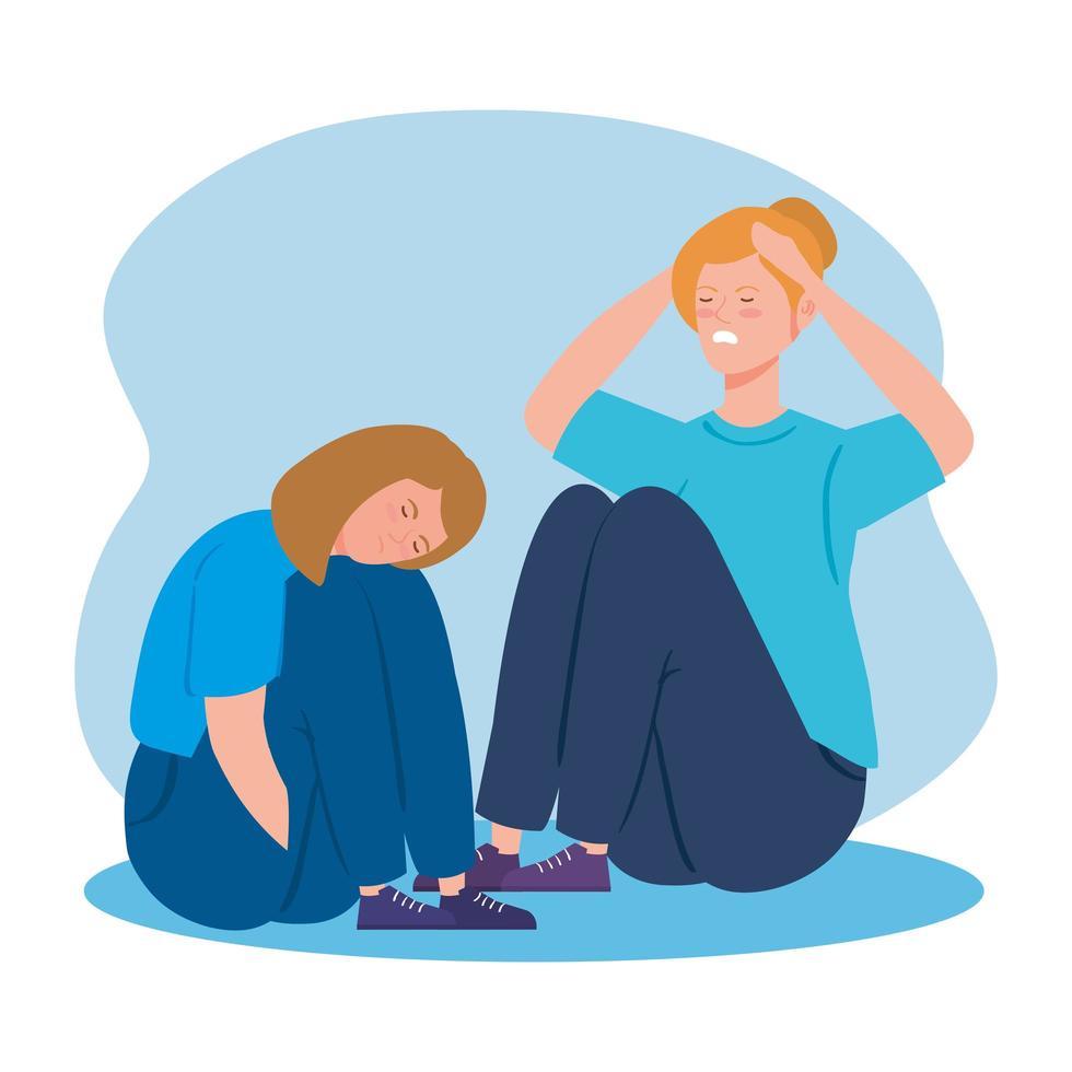 kvinnor som sitter på golvet med stress och depression vektor