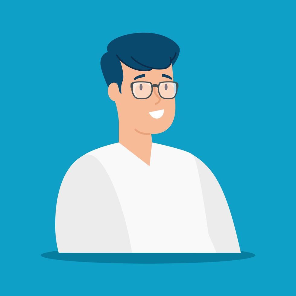 ung man med glasögon isolerad ikon vektor