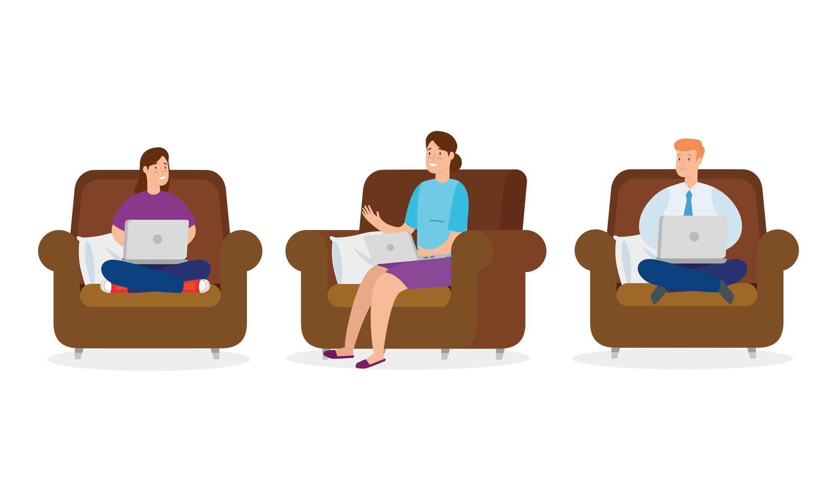 människor som sitter på soffor med bärbara datorer vektor