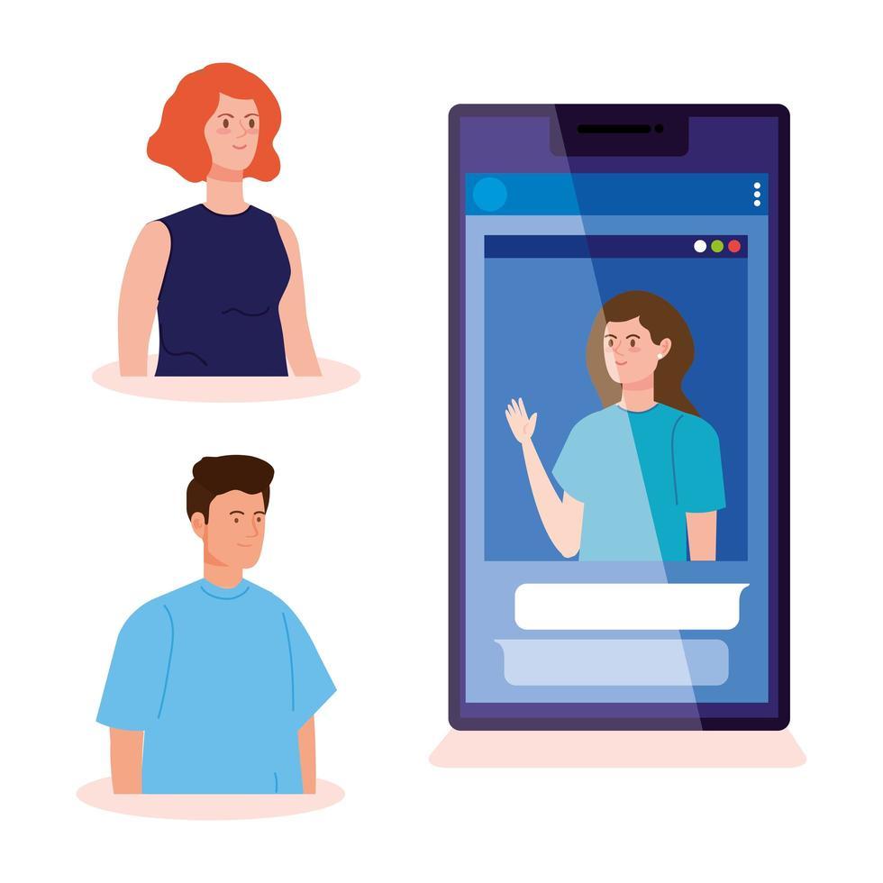 människor i en videokonferens via smartphone vektor