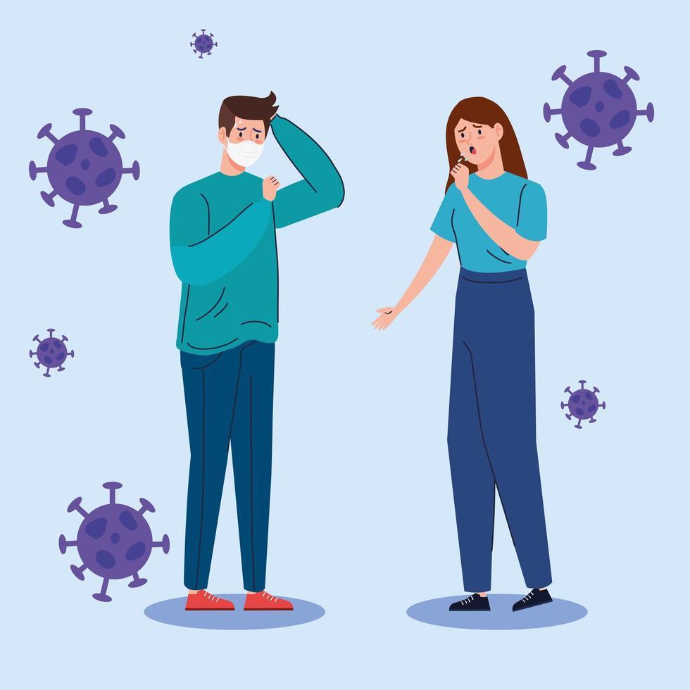 ungt par med coronavirus symptom vektor
