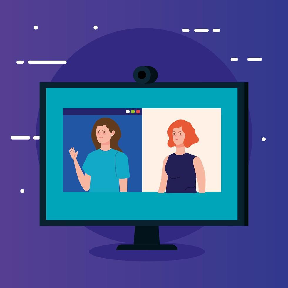 kvinnor i en videokonferens via dator vektor