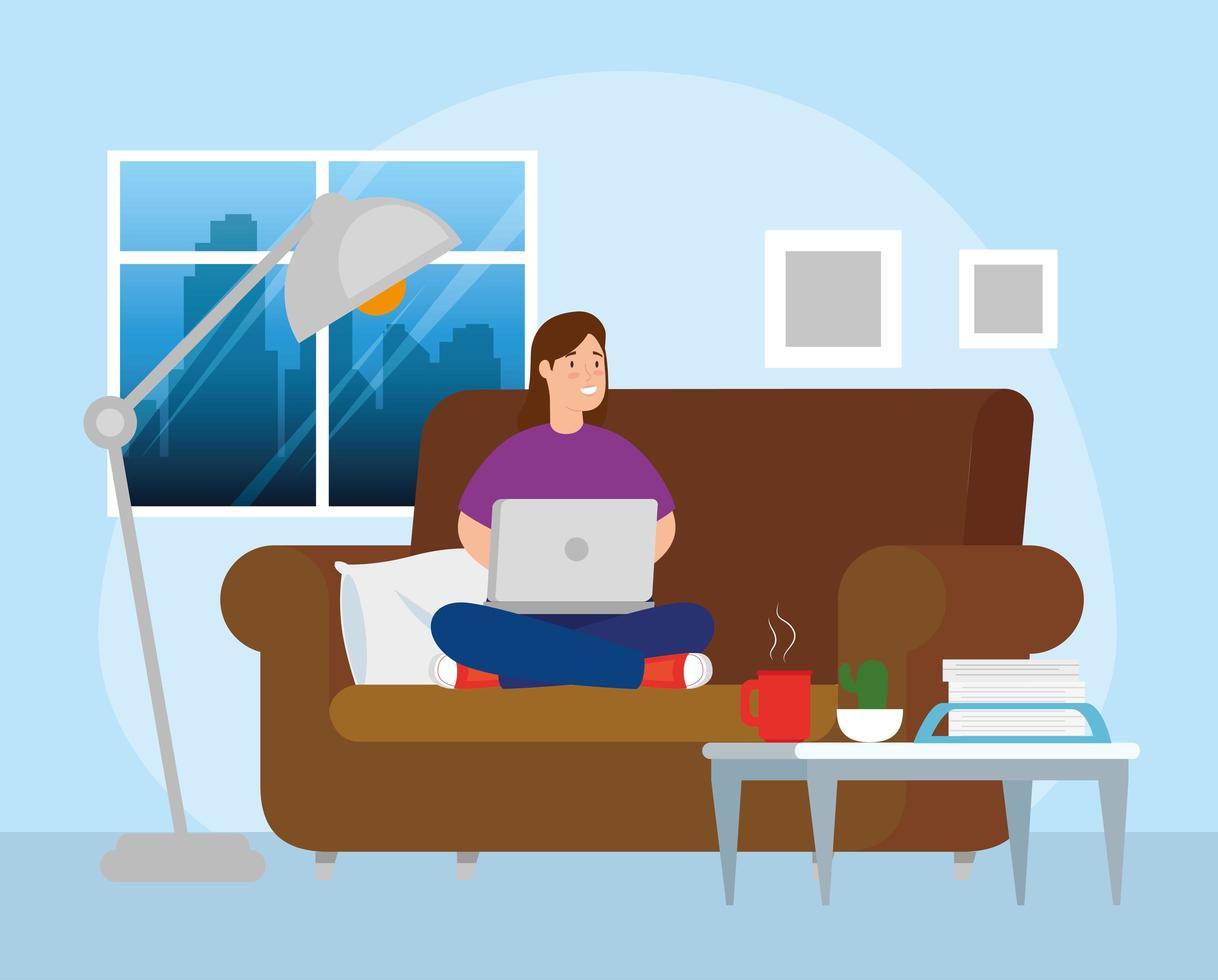kvinna som arbetar med den bärbara datorn på soffan vektor
