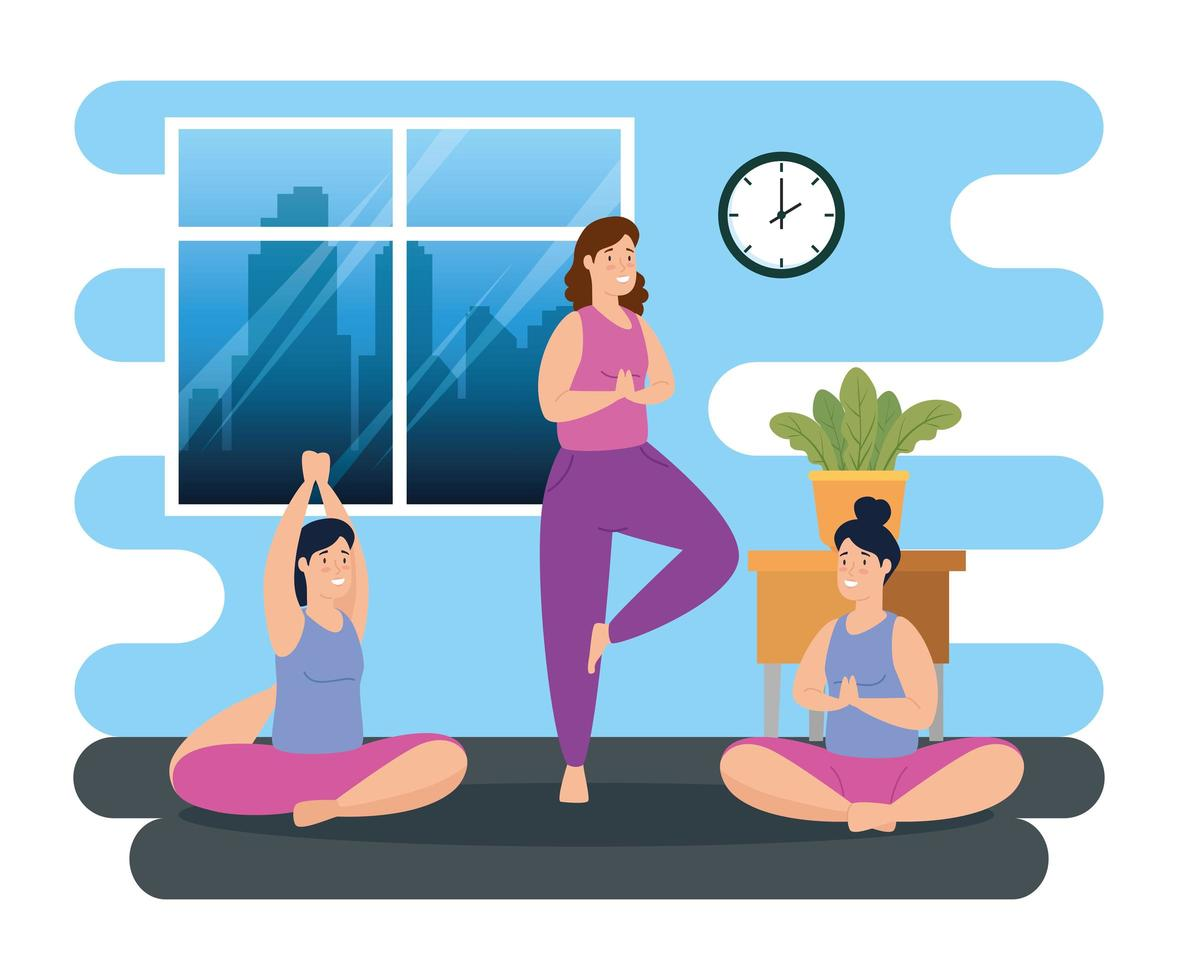 kvinnor som tränar yoga inomhus vektor