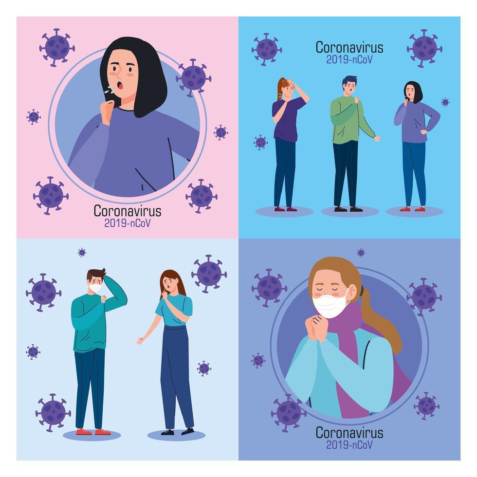 personer med coronavirus symptom banneruppsättning vektor