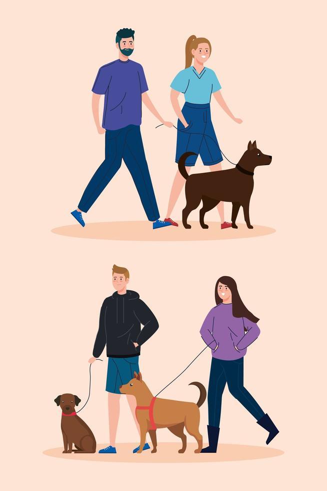 människor som går med sina hundar scenuppsättning vektor
