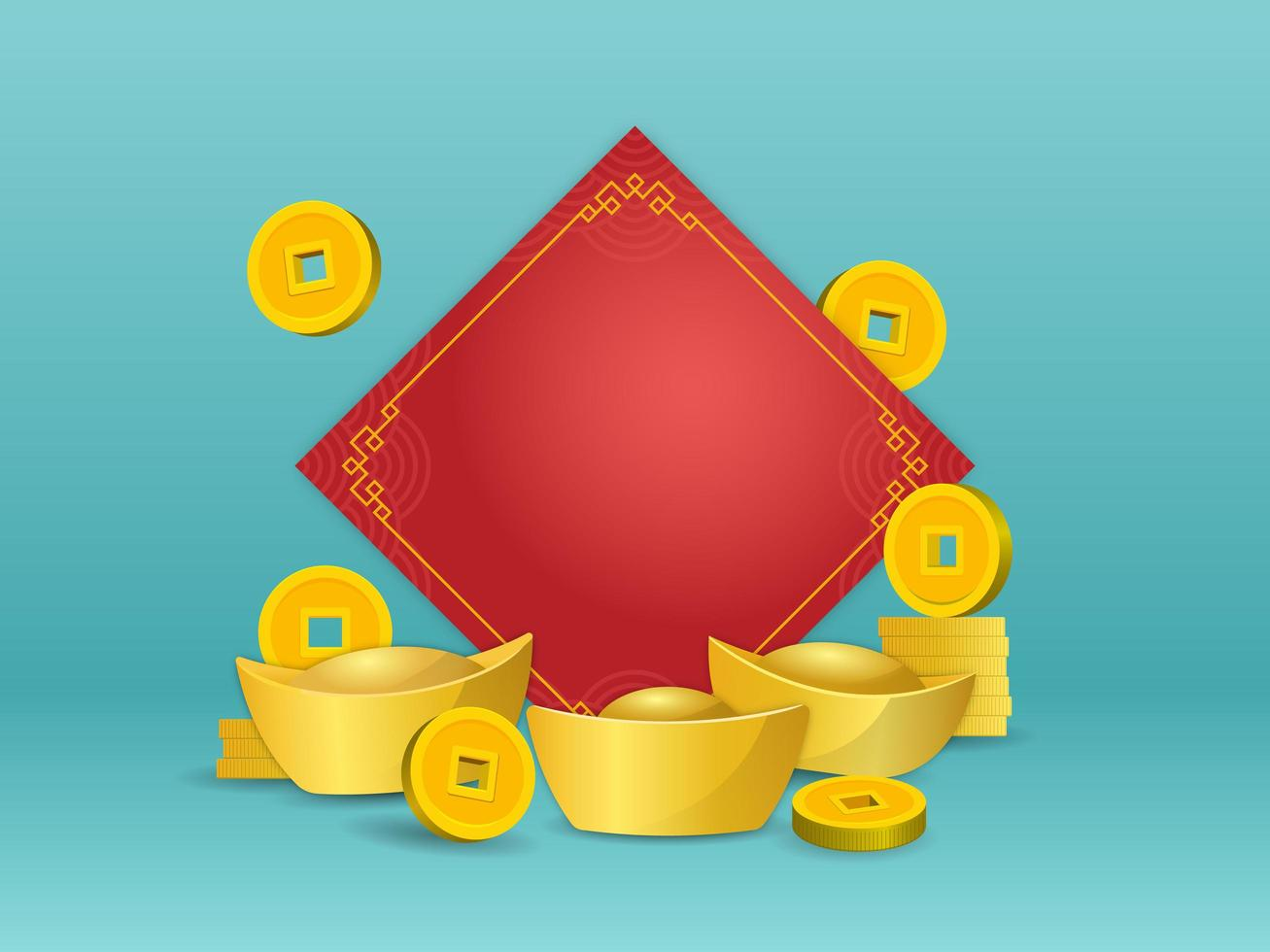 kinesiskt guldgöt och mynt framför tomt rött papper på grön färgbakgrund vektor