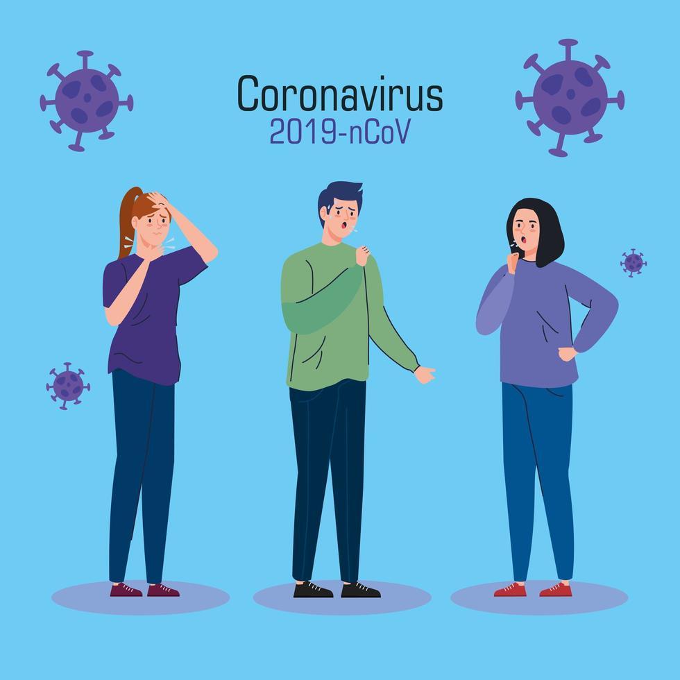 personer med coronavirus symptom banner vektor