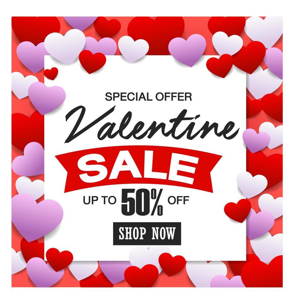 Alla hjärtans dag försäljning, rabattkort. vektor