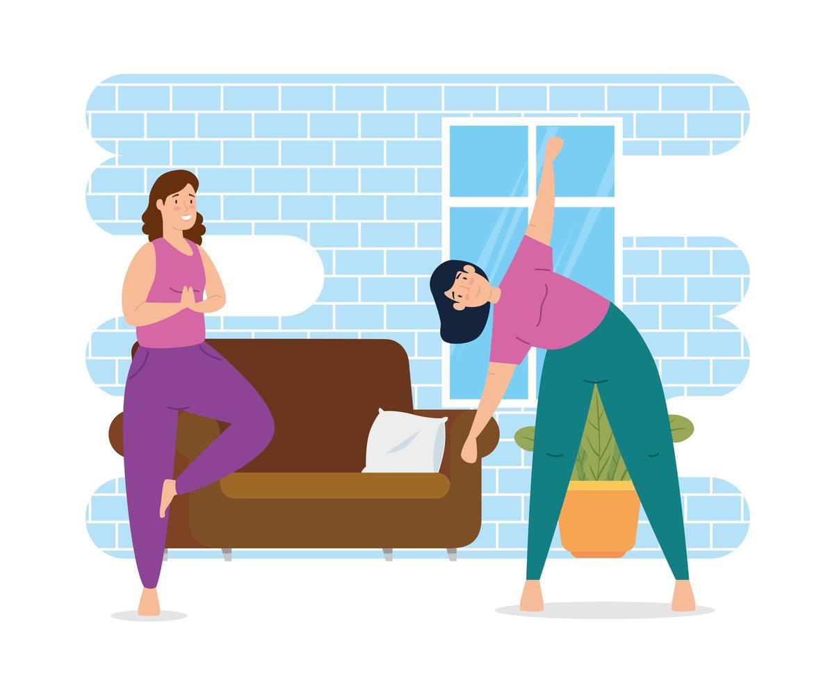 kvinnor som tränar i huset vektor