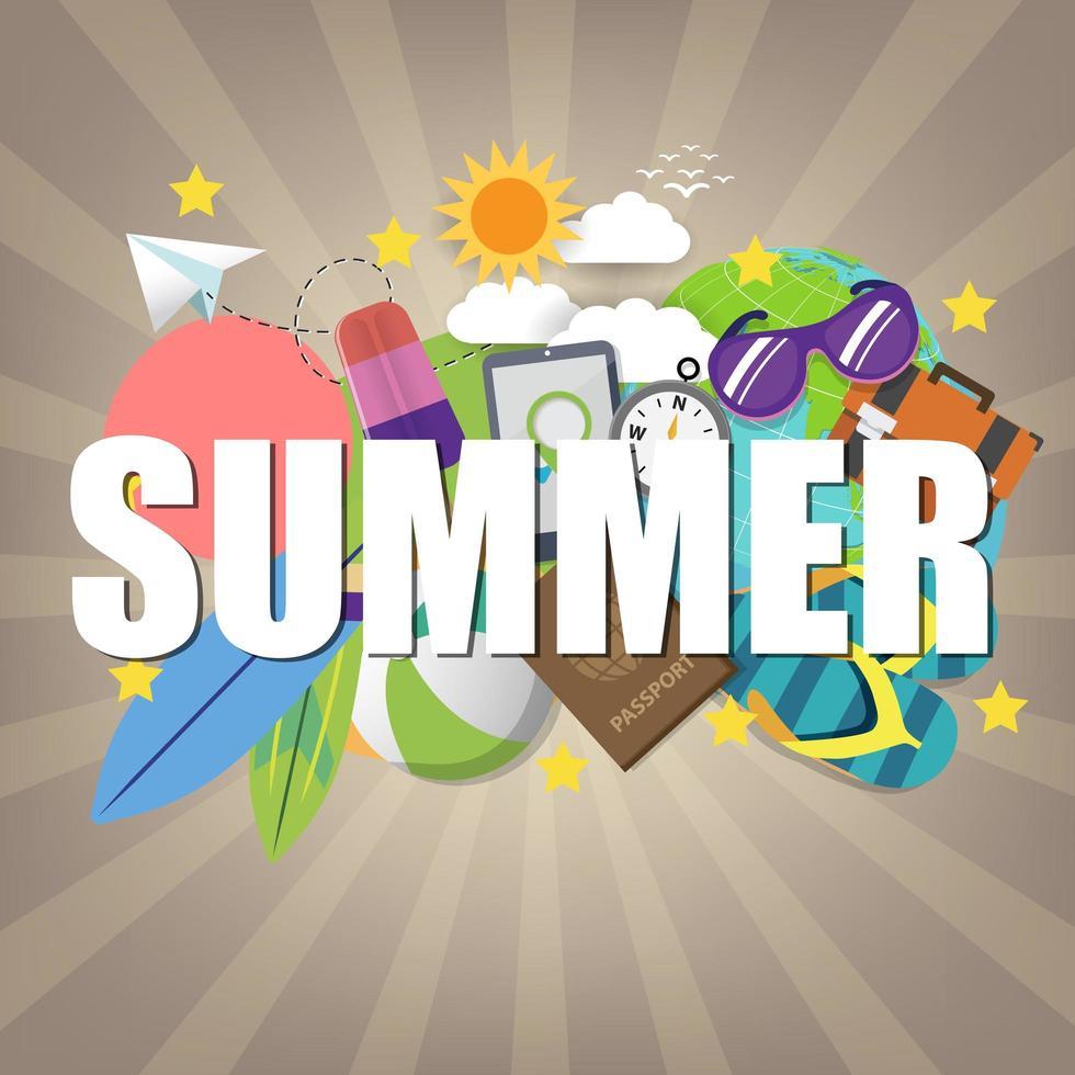 sommar banner mall på färgbakgrund. vektor