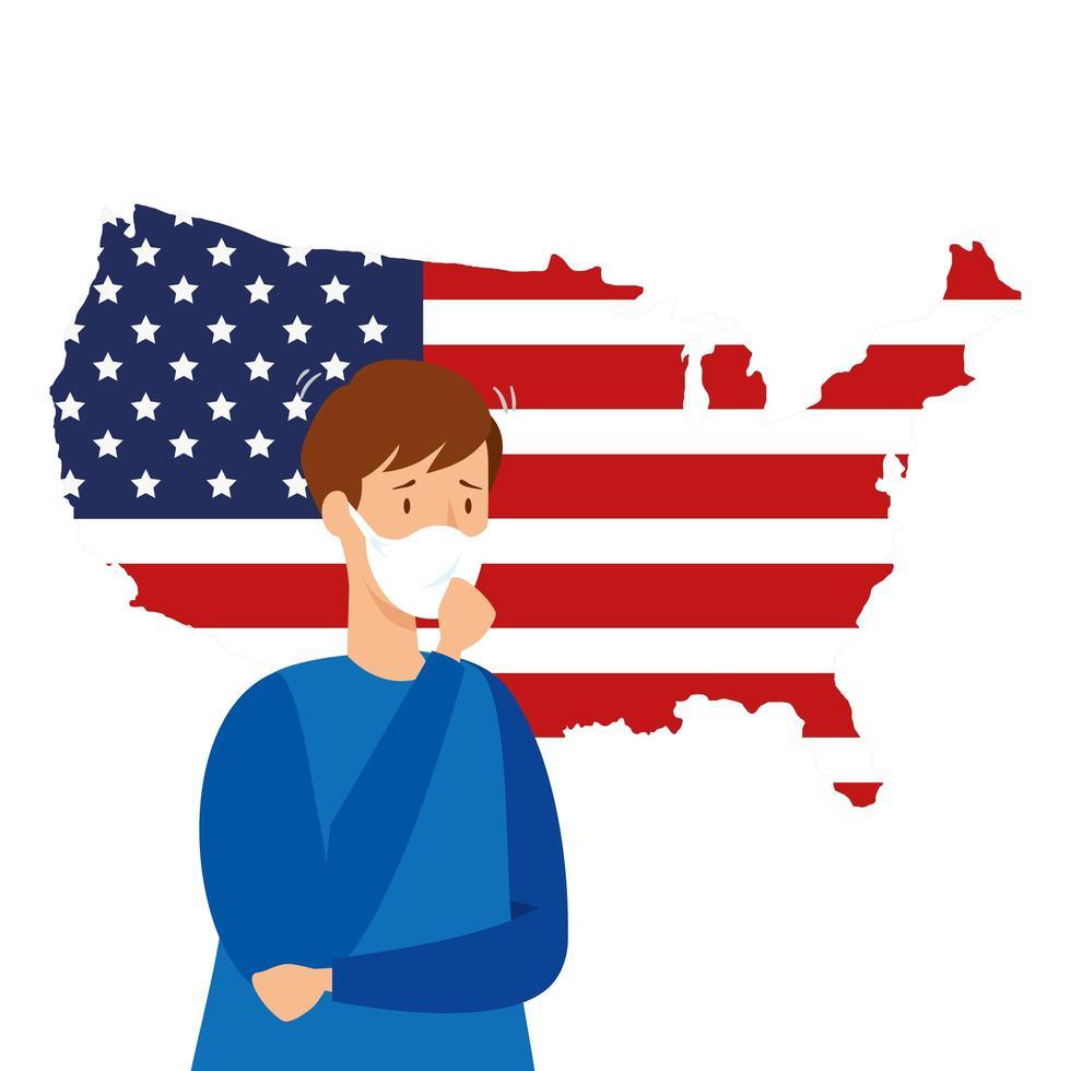 karta över USA och koronavirusförebyggande kampanj vektor