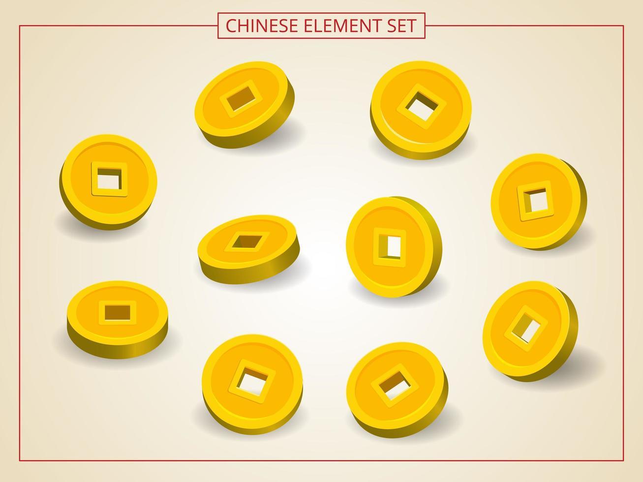 kinesiska guldmynt i flera vinklar i pappersskuren stil vektor