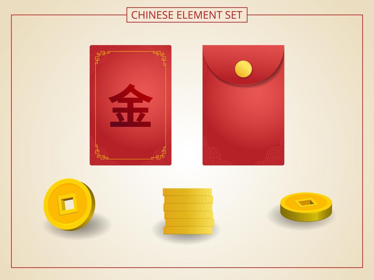 kinesisk angpao röd färg med gyllene mynt i pappersskuren stil vektor
