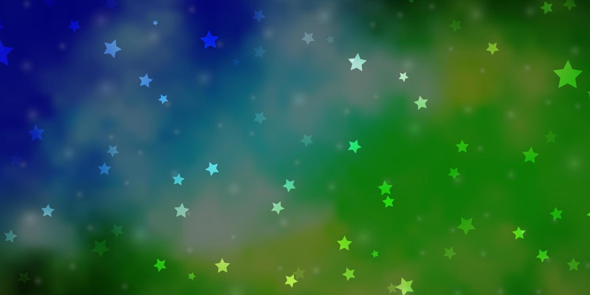 hellblaues, grünes Vektorlayout mit hellen Sternen. vektor