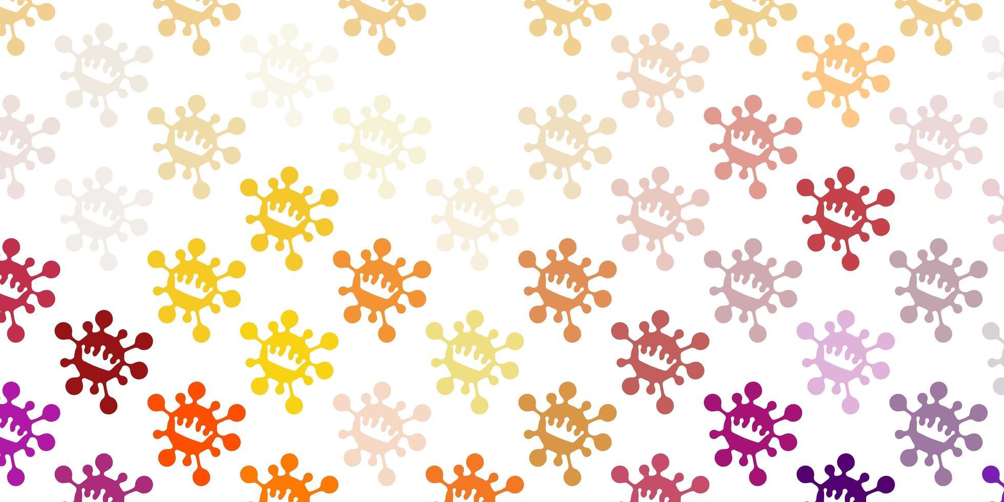 ljusrosa, gul vektorbakgrund med virussymboler. vektor