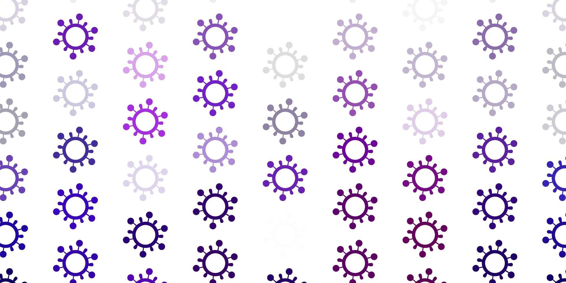 hellviolettes Vektormuster mit Coronavirus-Elementen vektor
