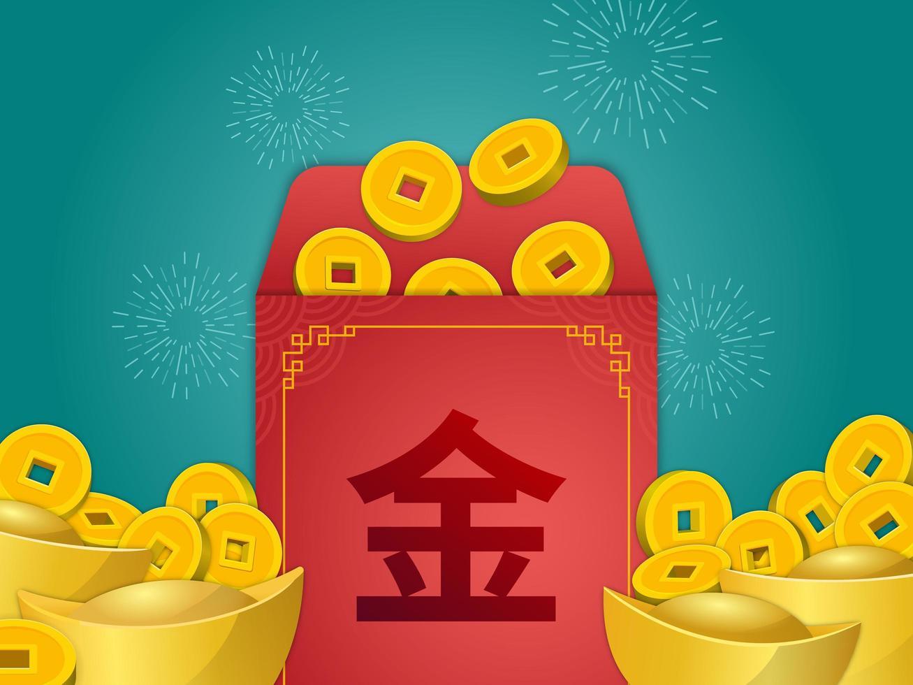 kinesisk angpao med gyllene mynt och göt vektor