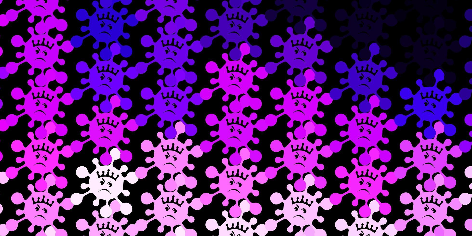 mörk lila, rosa vektor bakgrund med covid-19 symboler.