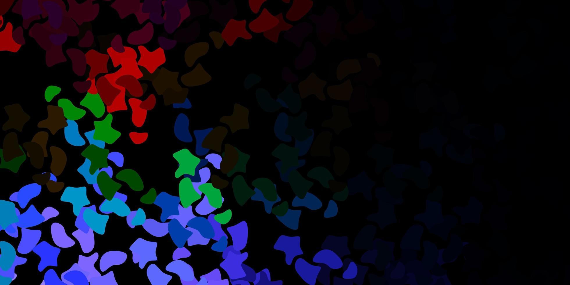 dunkler mehrfarbiger Vektorhintergrund mit chaotischen Formen. vektor