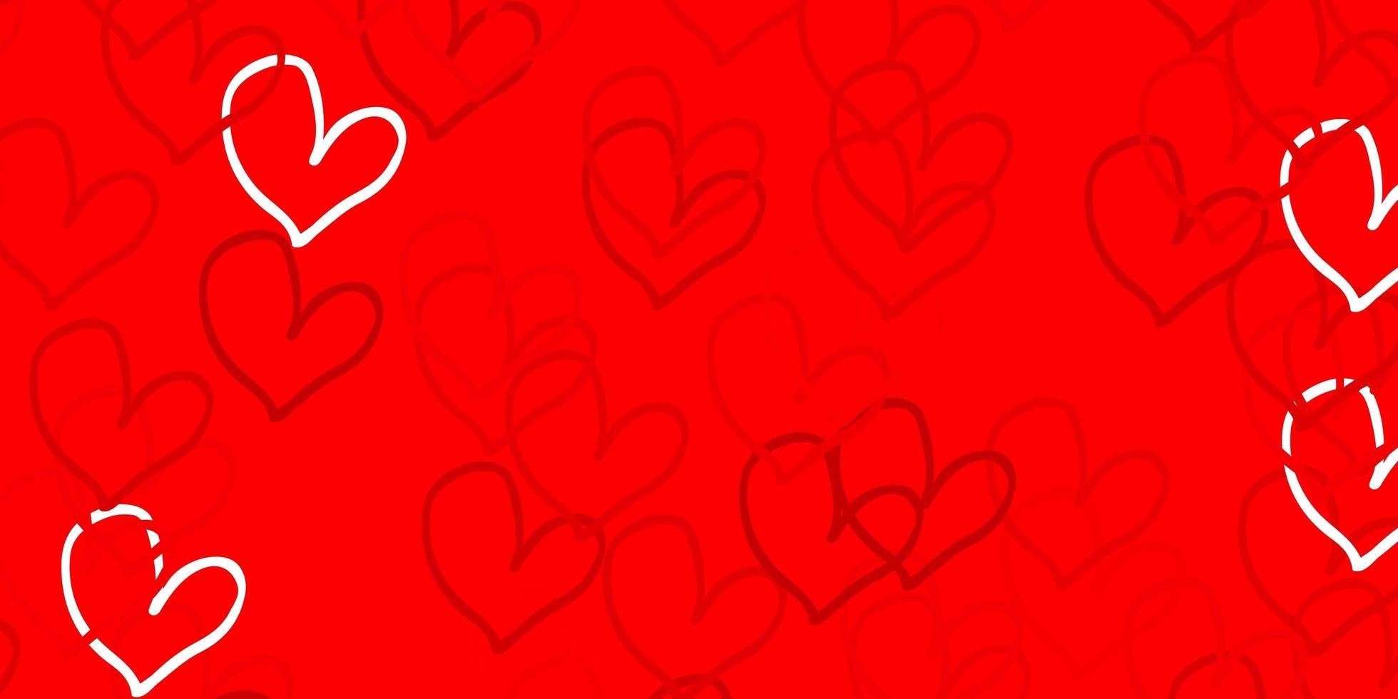 ljusröd vektorbakgrund med hjärtan. vektor