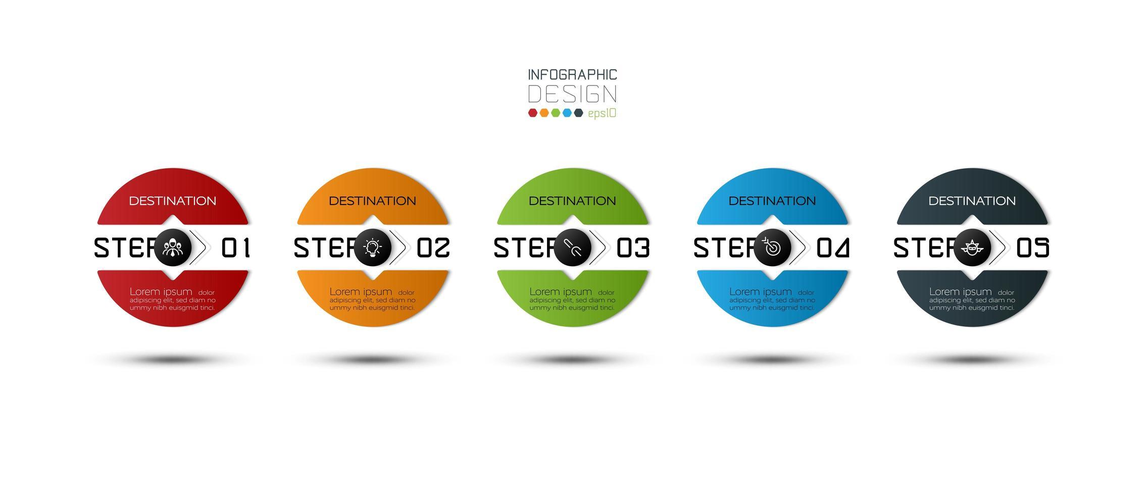 5 steg cirkel designuppsättning vektor