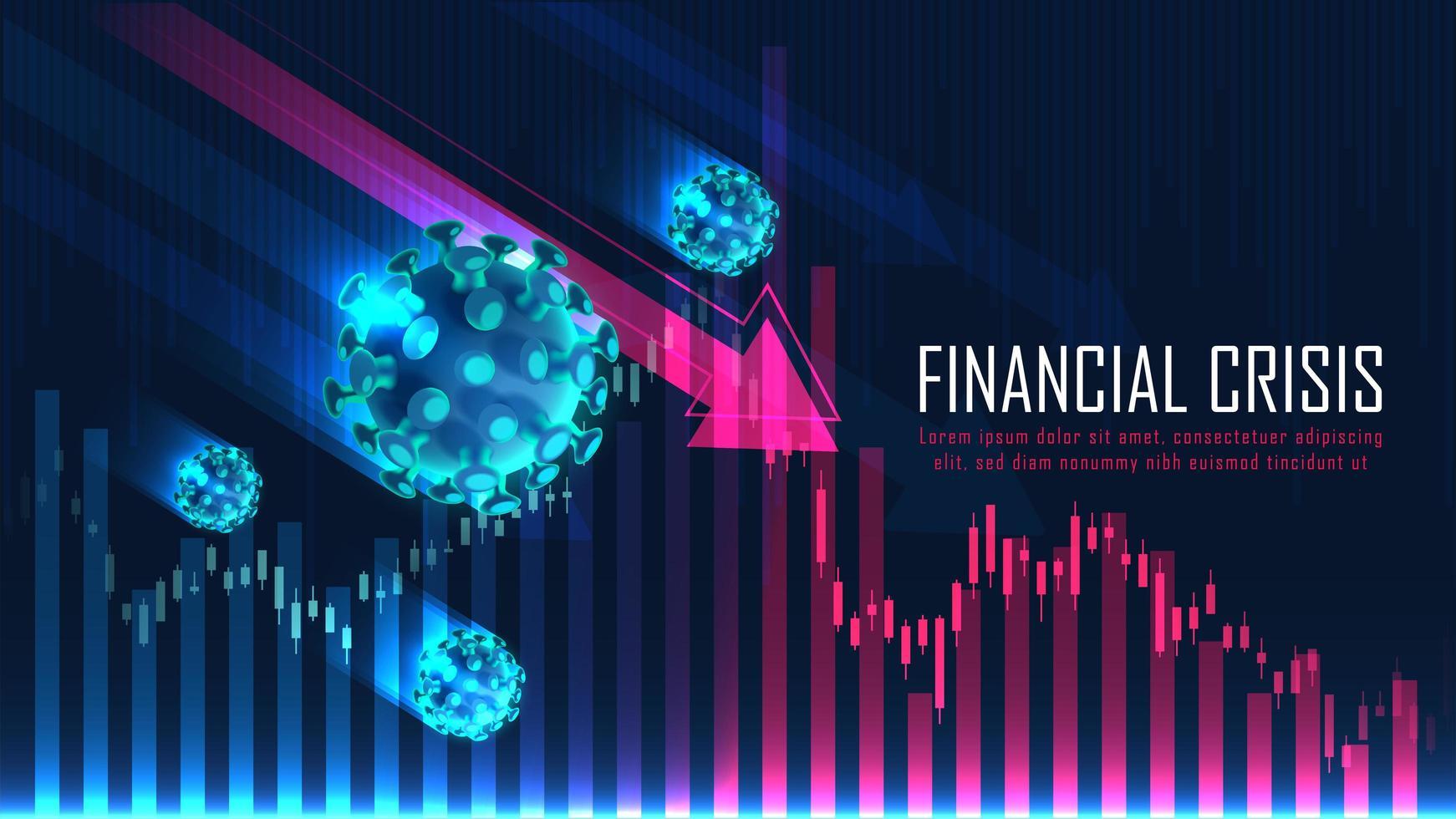 global finansiell kris från grafiskt koncept för viruspandemi vektor