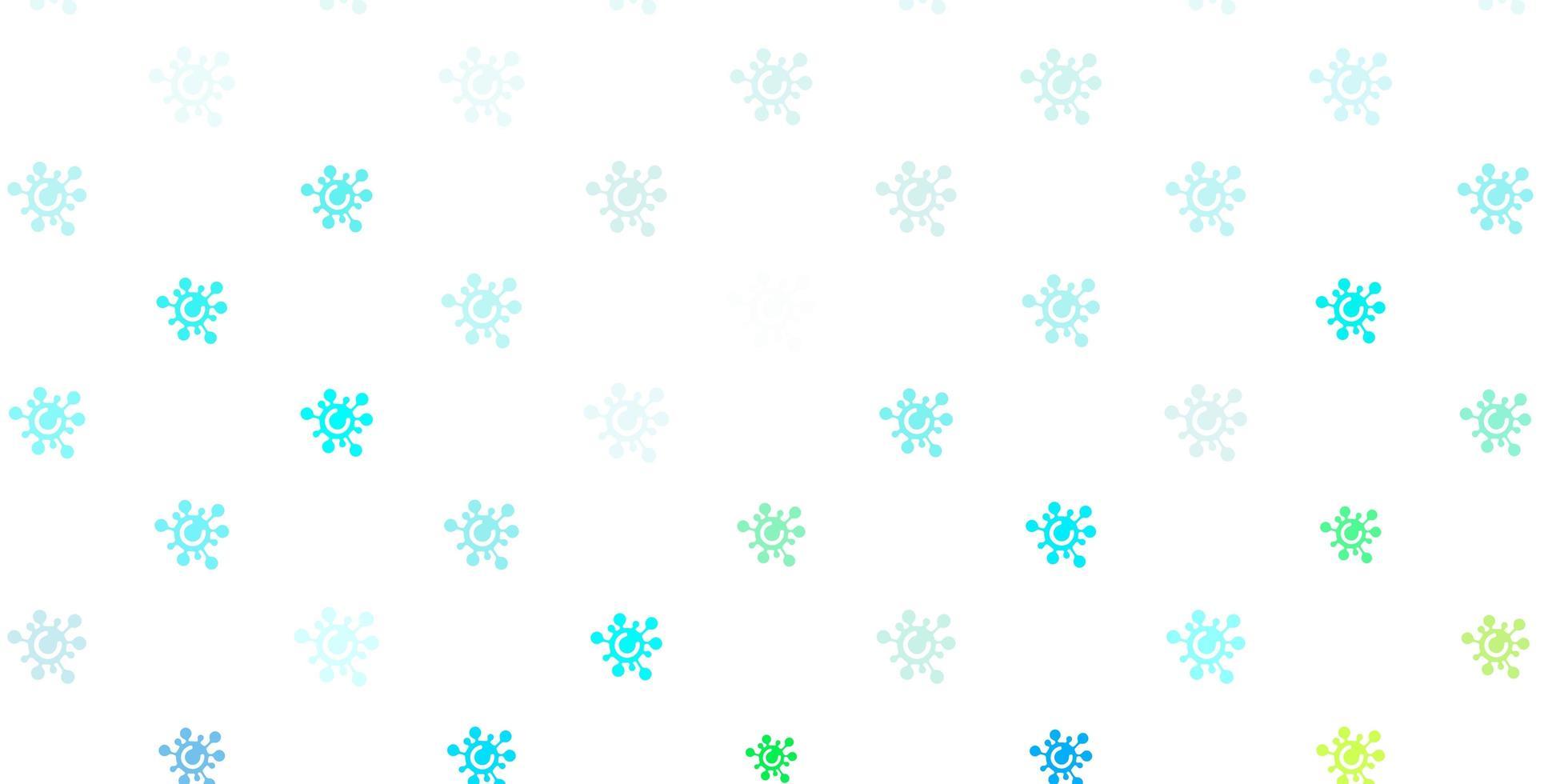 ljusblå, grön vektorbakgrund med covid-19 symboler vektor