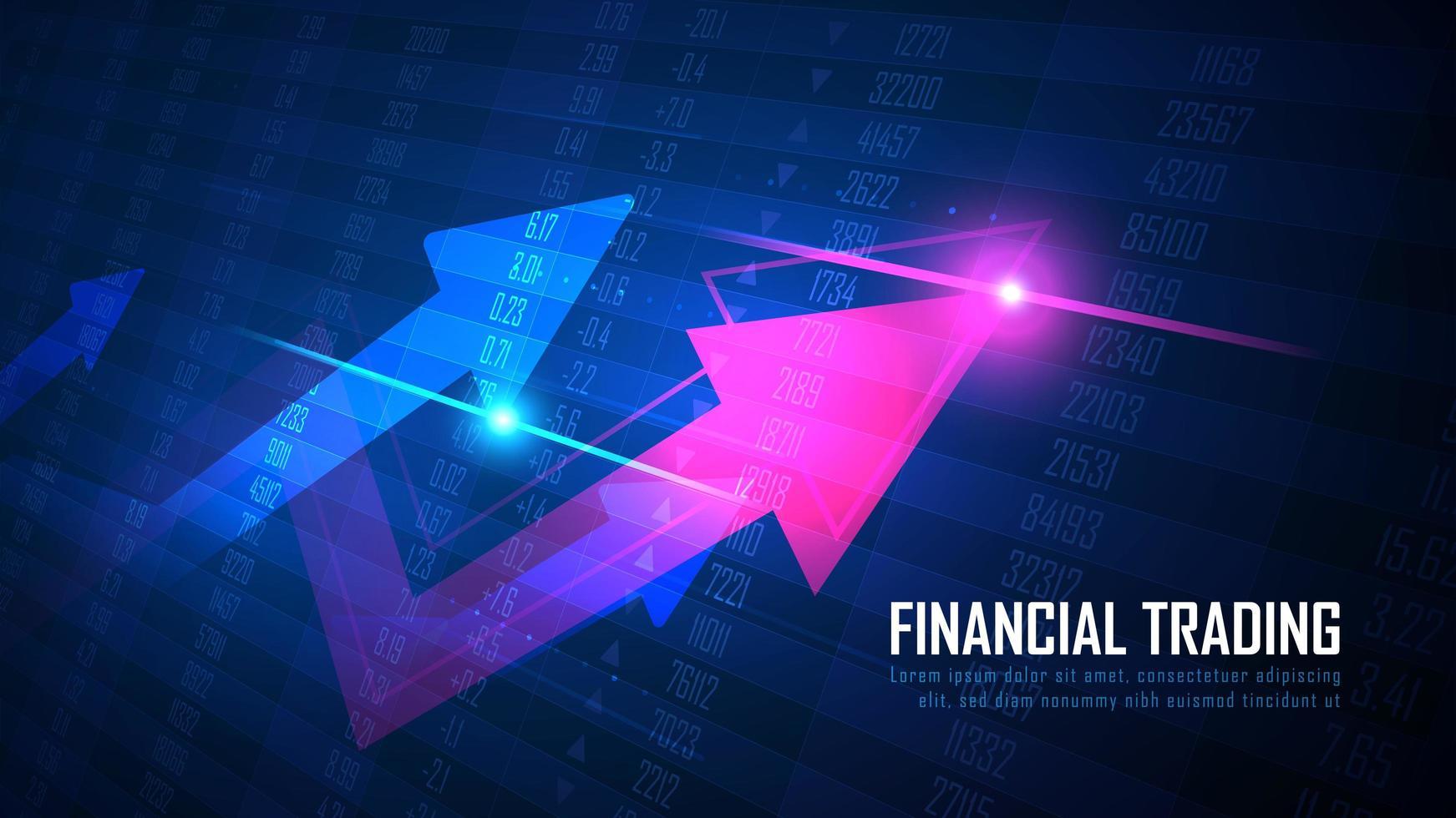 Pfeil nach oben mit Aktien- oder Forex-Nummern-Chart-Konzept vektor
