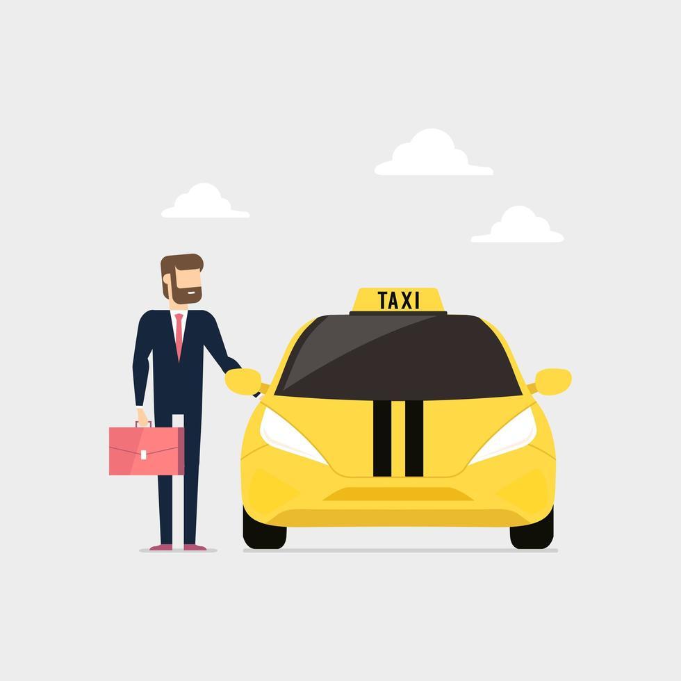 affärsman ringer taxi och öppnar taxidörren vektor