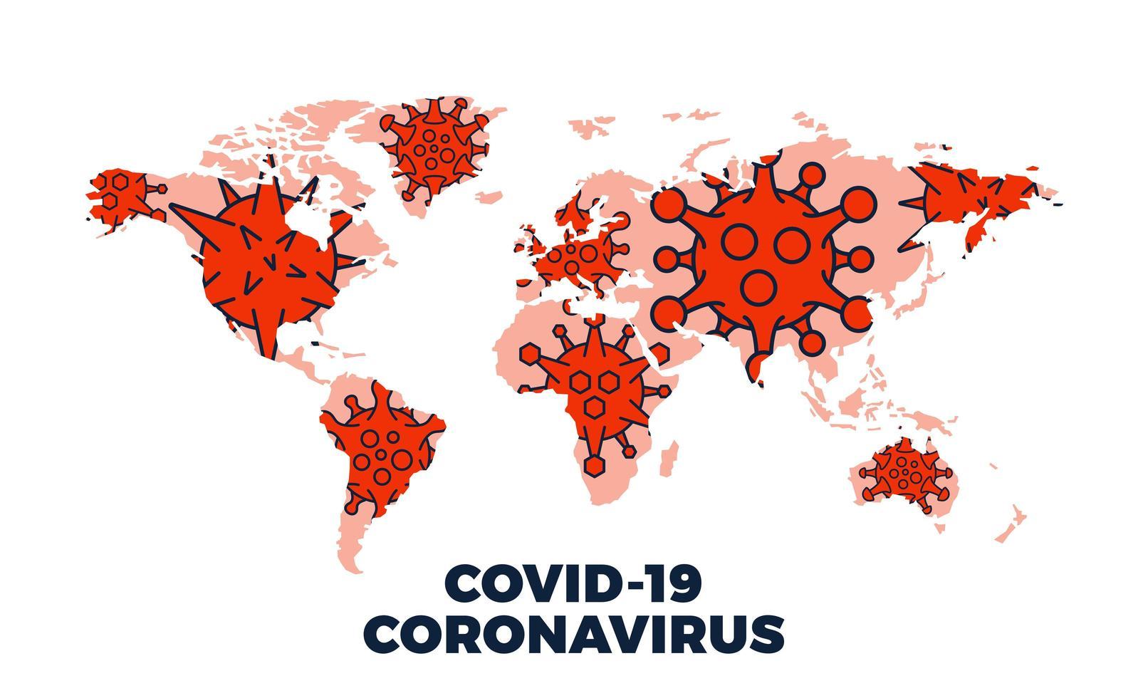 coronavirus covid-19 karta bekräftade fall över hela världen vektor