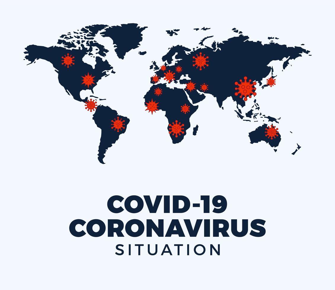 coronavirus covid-19 karta bekräftade fall rapporterade över hela världen vektor