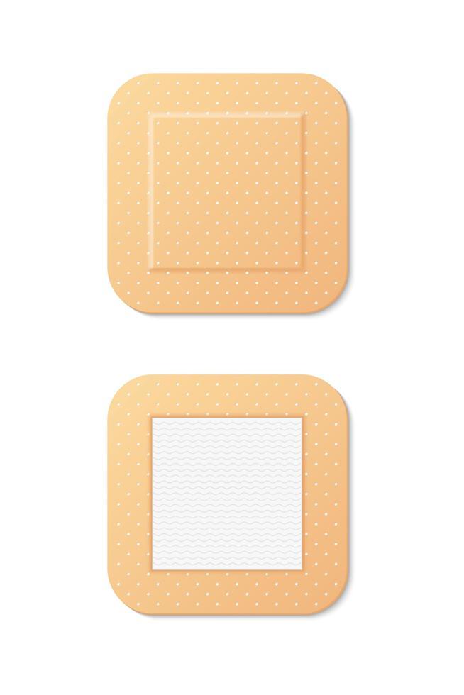 stora fyrkantiga medicinska bandage uppsättning vektor