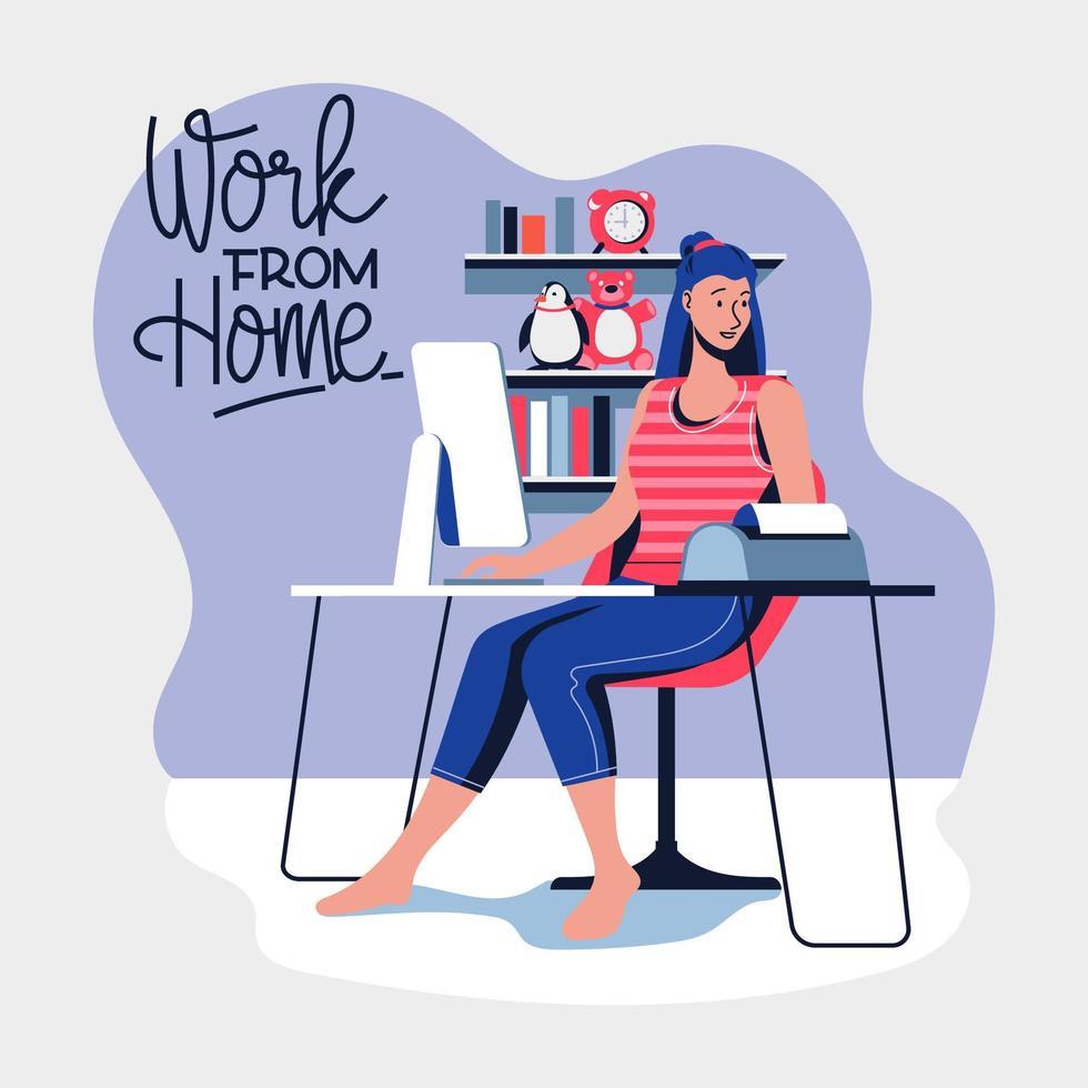 Arbeit von zu Hause aus während des Covid-19-Ausbruchs vektor
