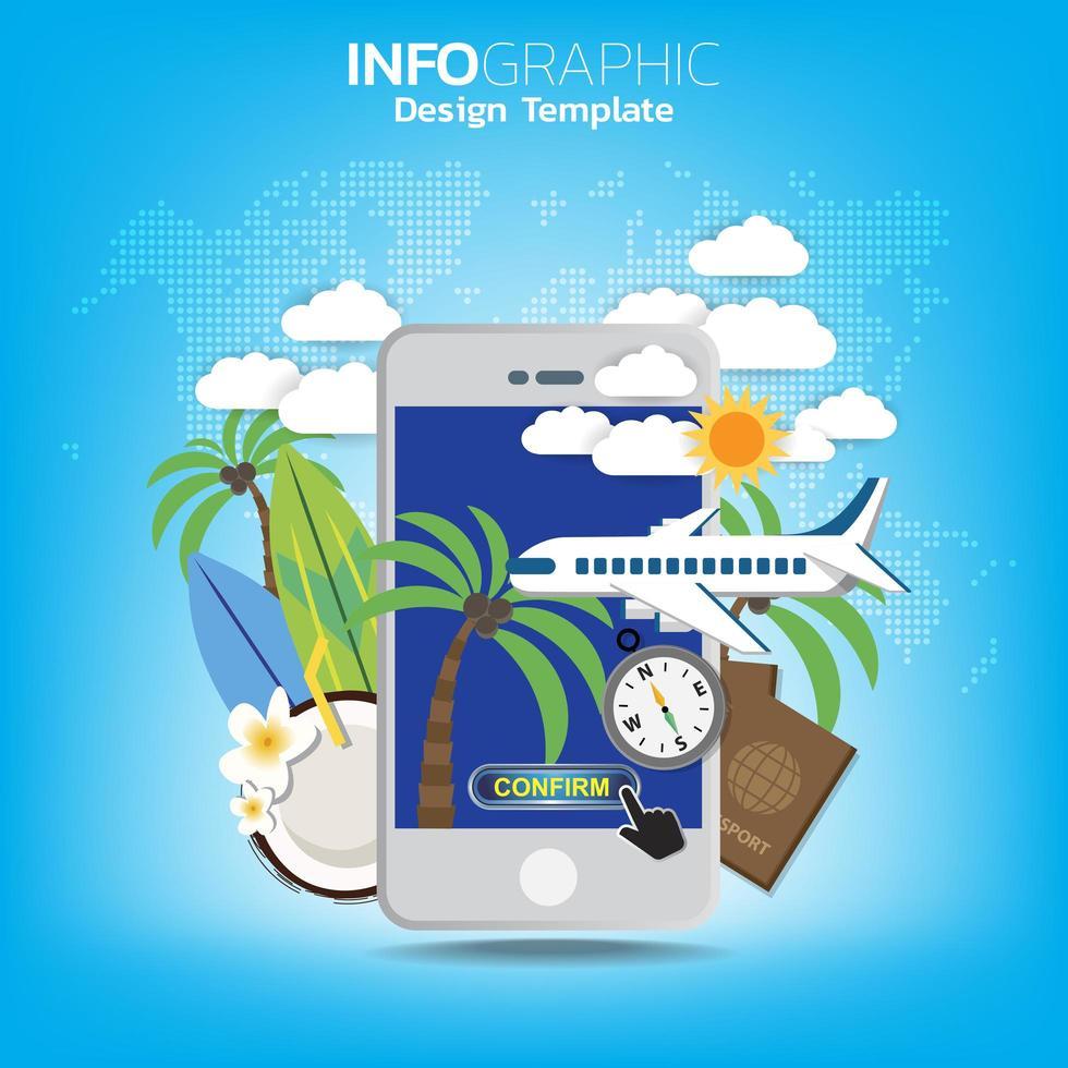 gå resekoncept med en mobilbiljett för passagerarplan för app. vektor