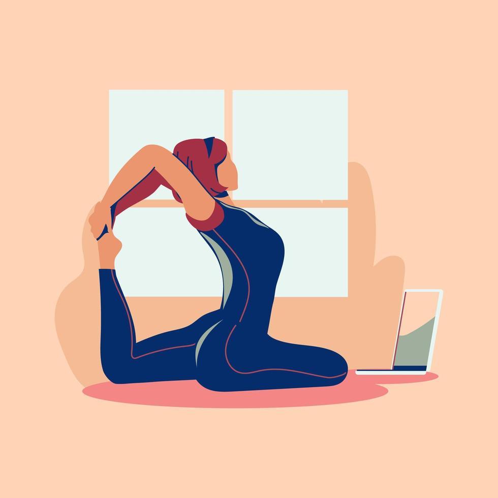sportövning och träning hemma under covid-19 vektor