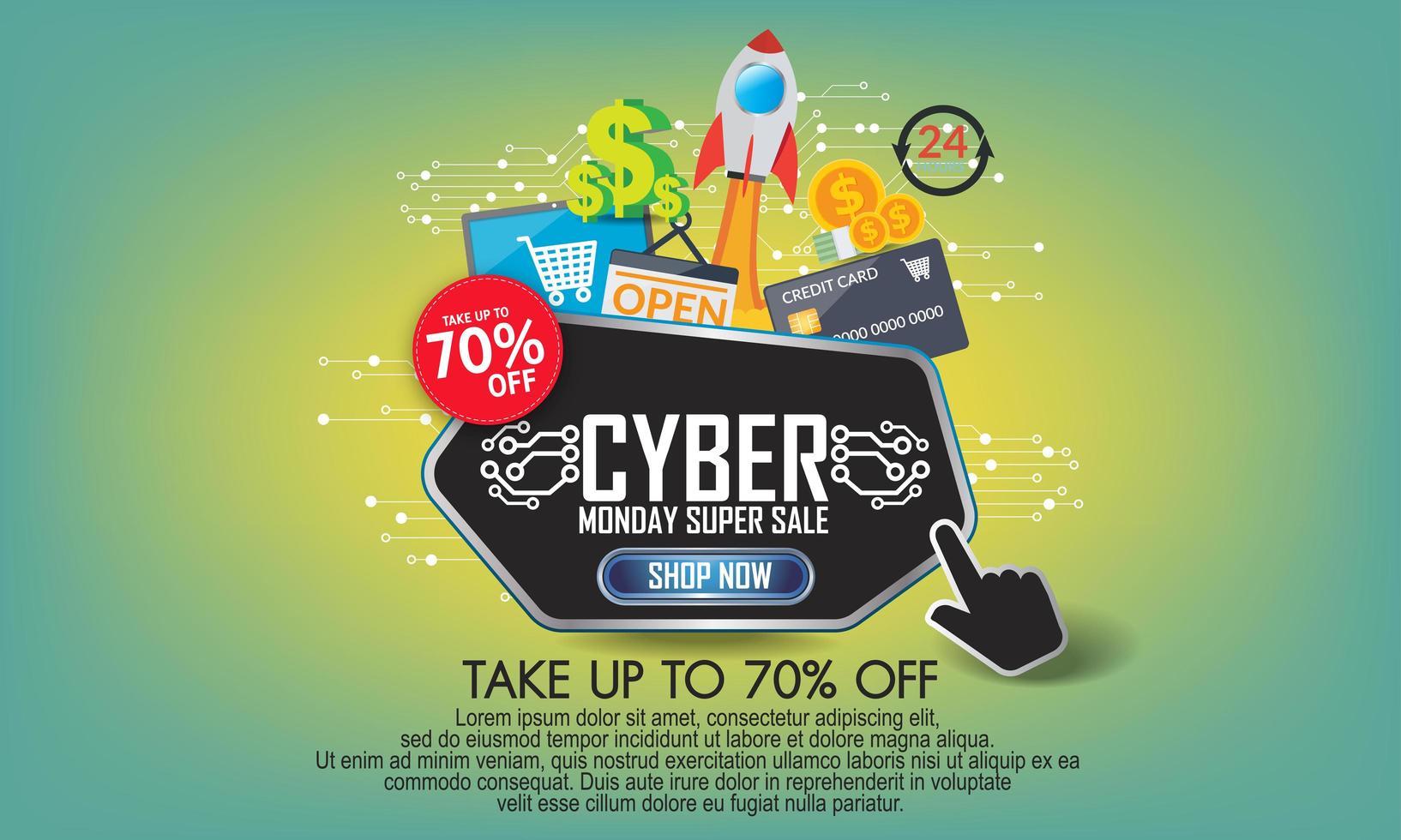 modern cyber måndag banner med platt design vektor