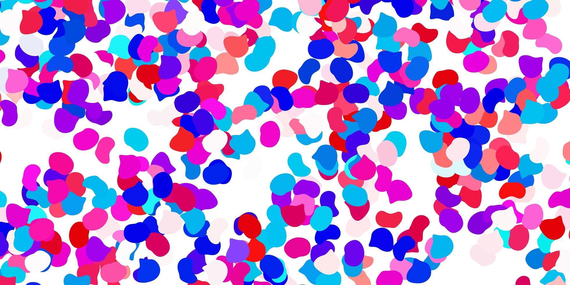 ljusblå, röd vektorbakgrund med kaotiska former. vektor