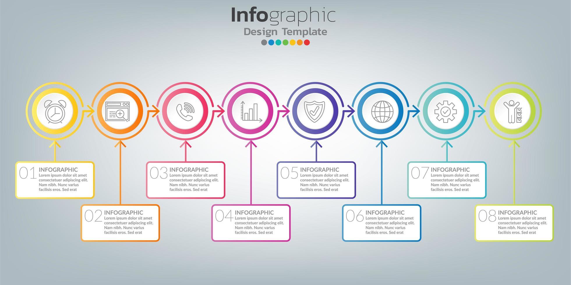 infographic i affärsidé med 8 alternativ, steg eller processer. vektor
