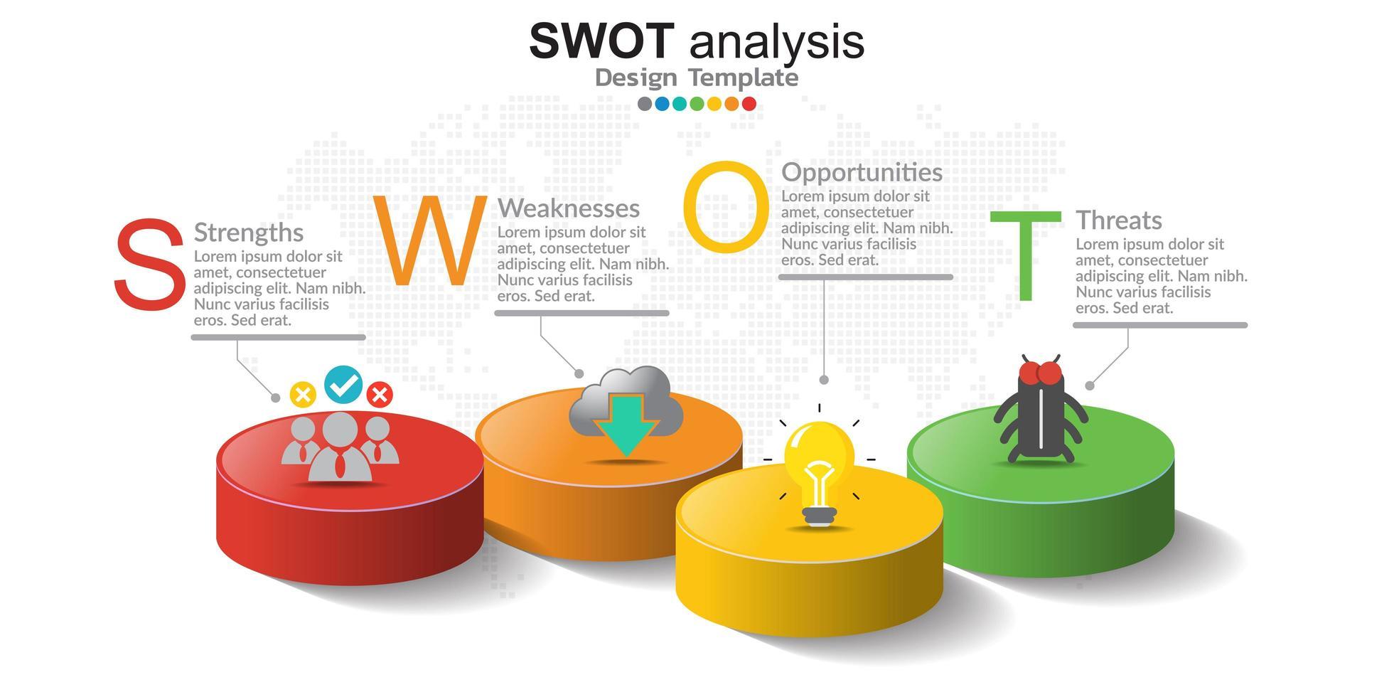 fyra färgglada element med ikoner och plats för text i begreppet swot-analys. vektor
