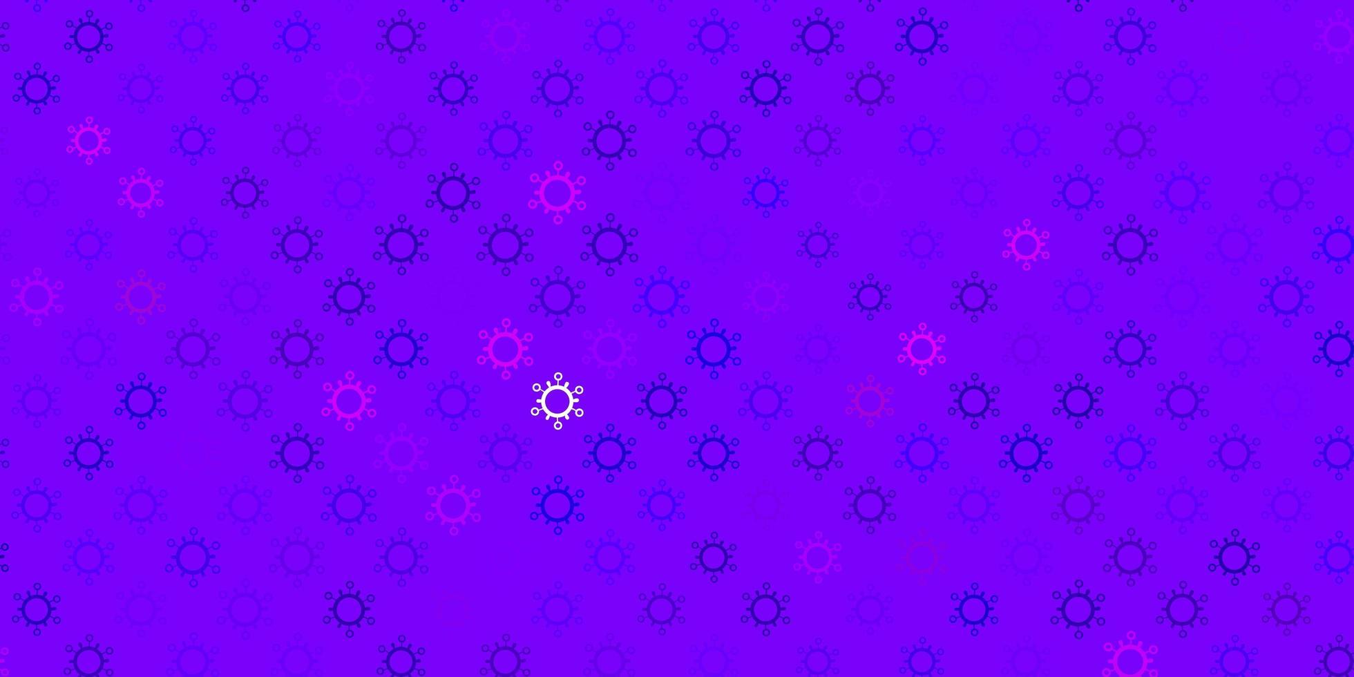dunkelvioletter, rosa Vektorhintergrund mit covid-19 Symbolen vektor
