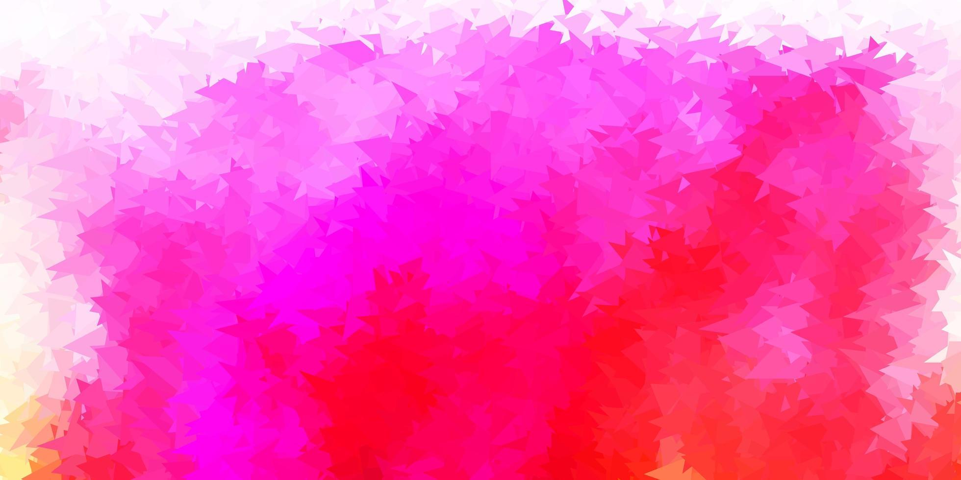 hellrosa, gelber Vektor abstrakter Dreieckhintergrund.