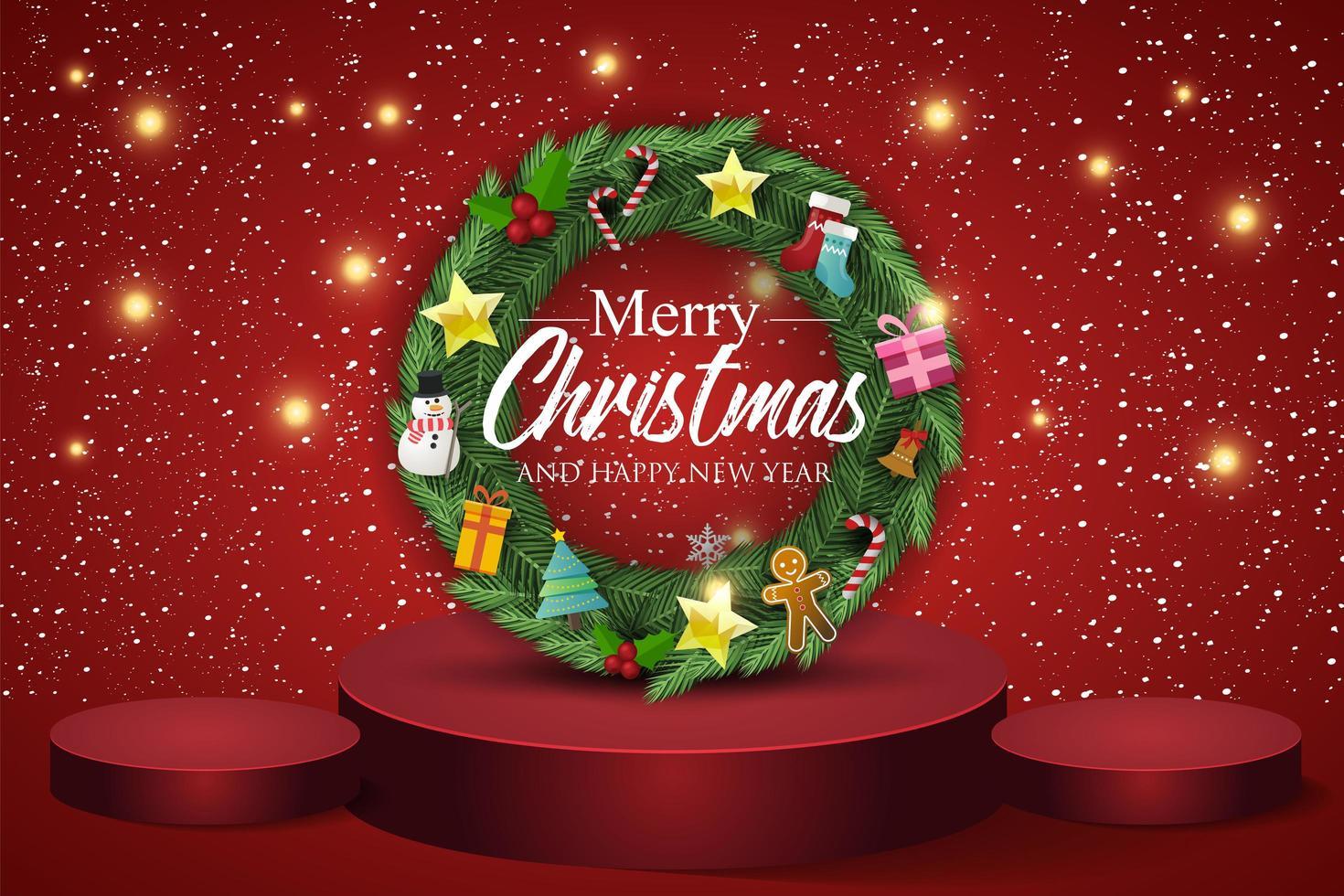 julkrans på röd bakgrund. text god jul och gott nytt år. vektor