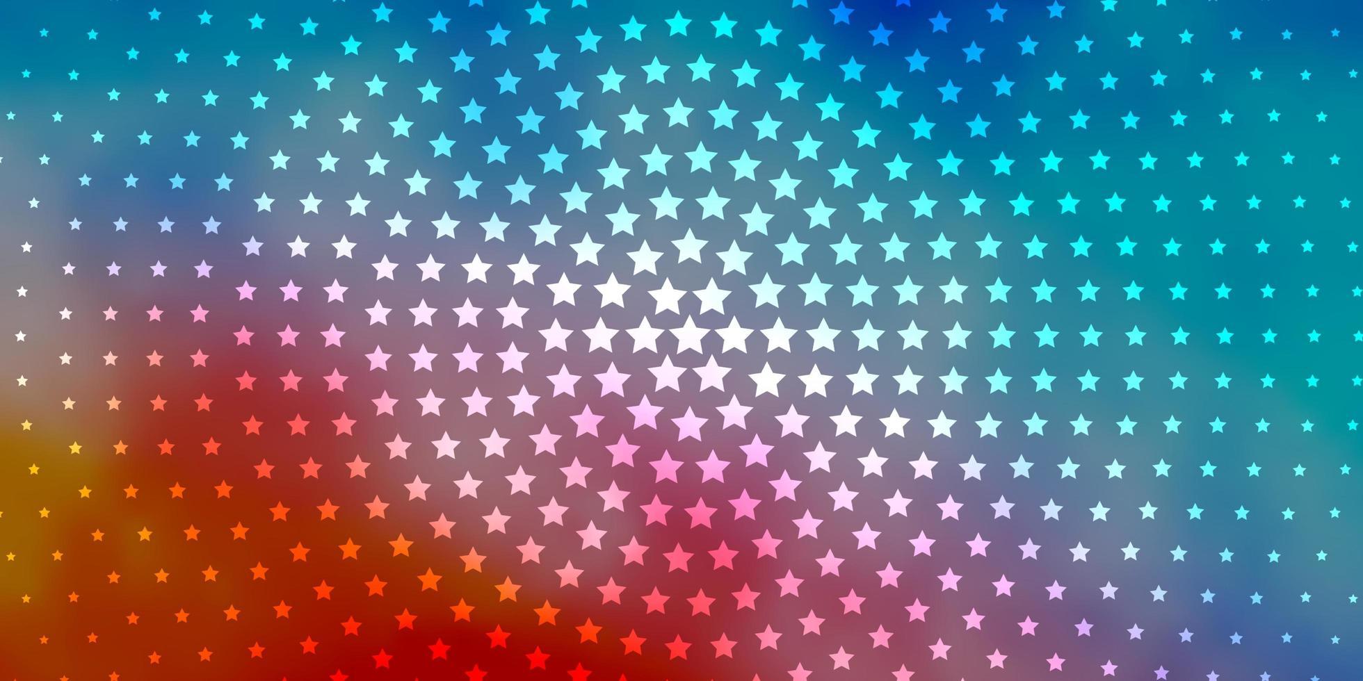 ljusblå, röd vektormall med neonstjärnor. vektor