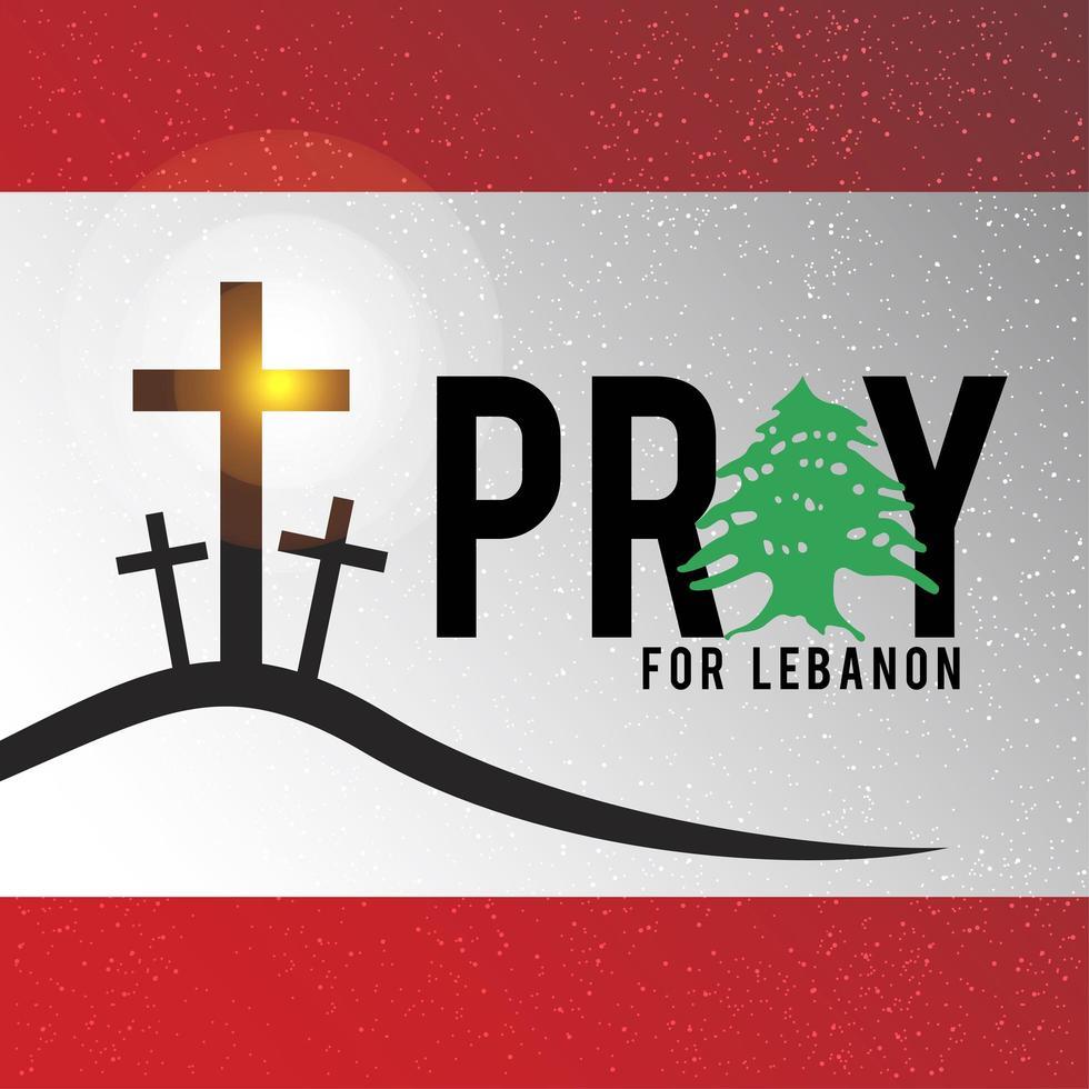 Libanon flagga med be för Beirut koncept. vektor
